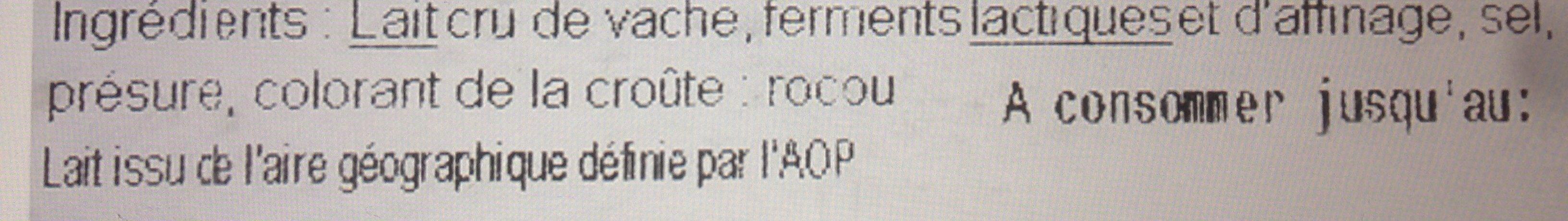 Reblochon de Savoie AOP au lait cru - Ingrédients - fr