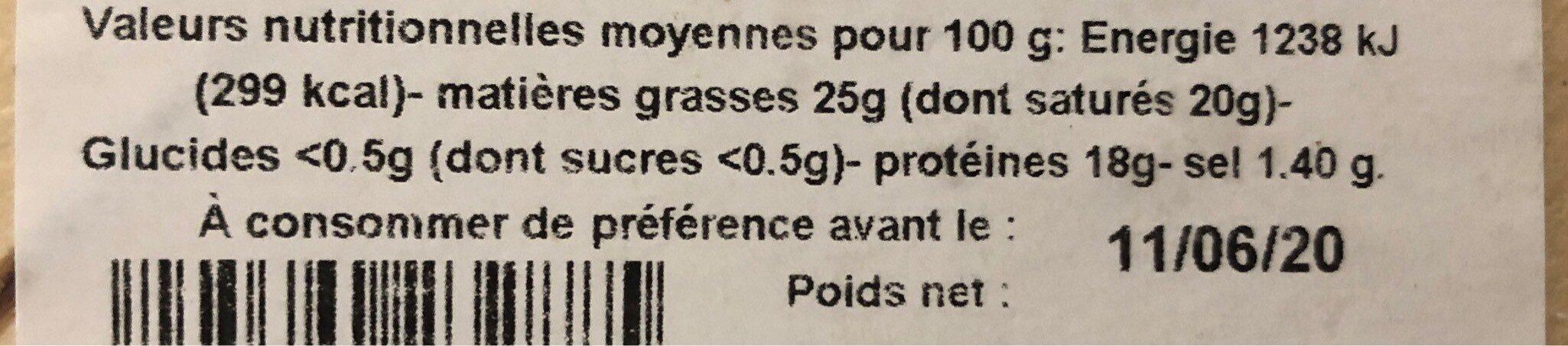 Reblochon de Savoie AOP au lait cru - Informations nutritionnelles - fr