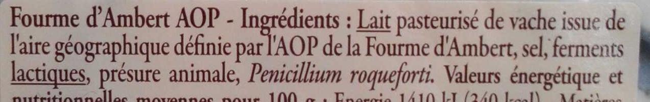 Fourme d'Ambert AOP - Ingredients - fr