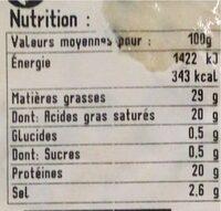 Fourme d'Ambert AOP - Nutrition facts - fr