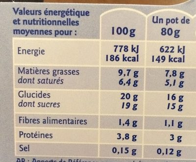 Mousse liégeoise - Nutrition facts
