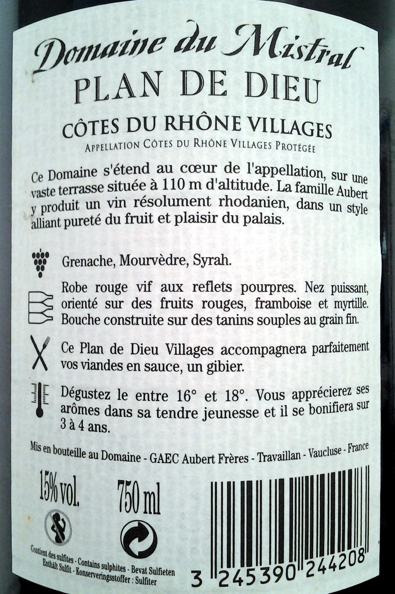 Plan de Dieu 2011 - Ingredienti - fr