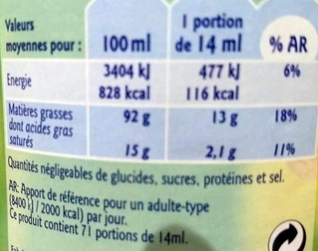 Blle 1L Huile D'arachide Grand Jury - Valori nutrizionali - fr