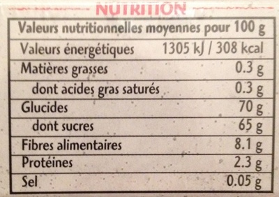 Dattes Deglet Nour - Nutrition facts