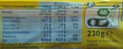 Pâte à tarte brisée - Informations nutritionnelles