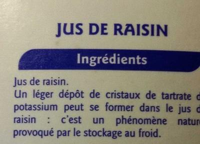100% pur fruit pressé Raisin - Ingrédients