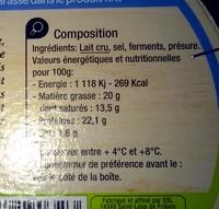 Camembert de Normandie AOP (20% MG) au lait cru - Ingrédients - fr