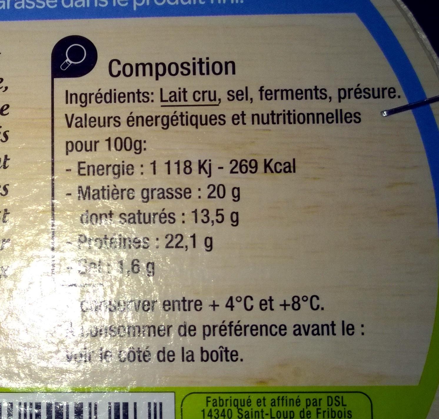 Camembert de Normandie AOP (20% MG) au lait cru - Ingredients