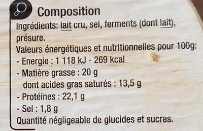 Camembert de Normandie AOP (20% MG) au lait cru - Nutrition facts