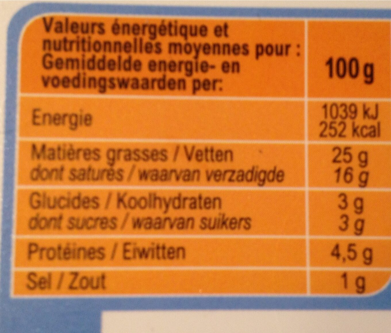 Fromage à tartiner Nature - Nutrition facts - fr