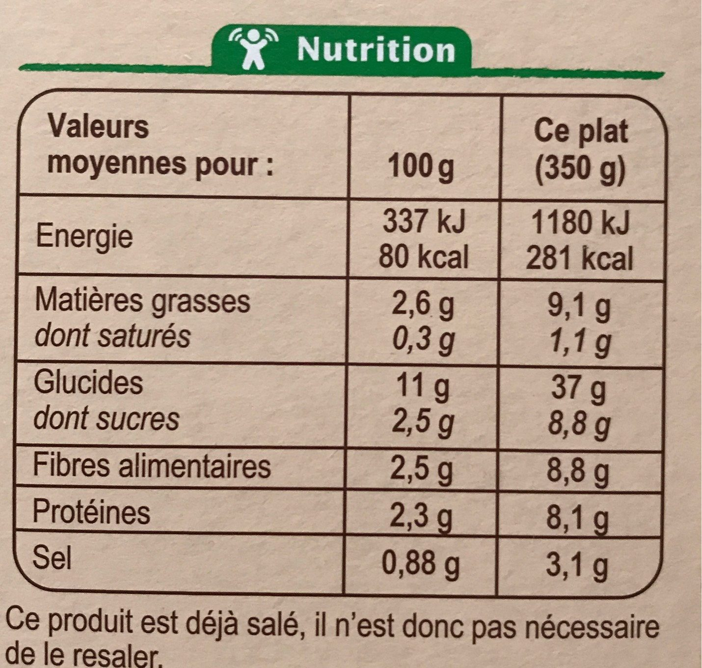 Assiette végétarienne de légumes et de quinoa - Informations nutritionnelles - fr