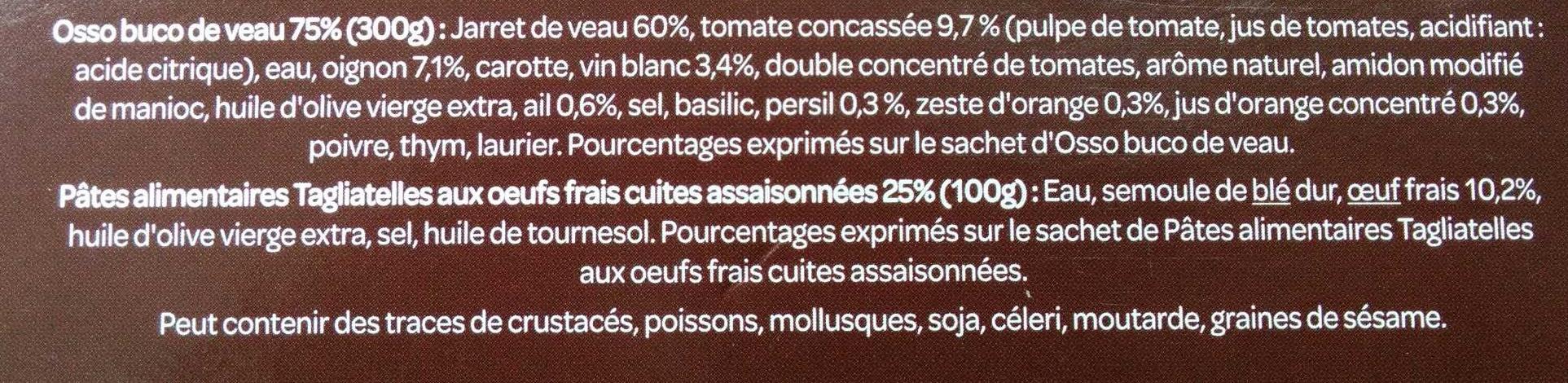 Osso Bucco Les Brasseries - Ingrédients