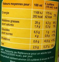 Sauce crudités nature - Nutrition facts