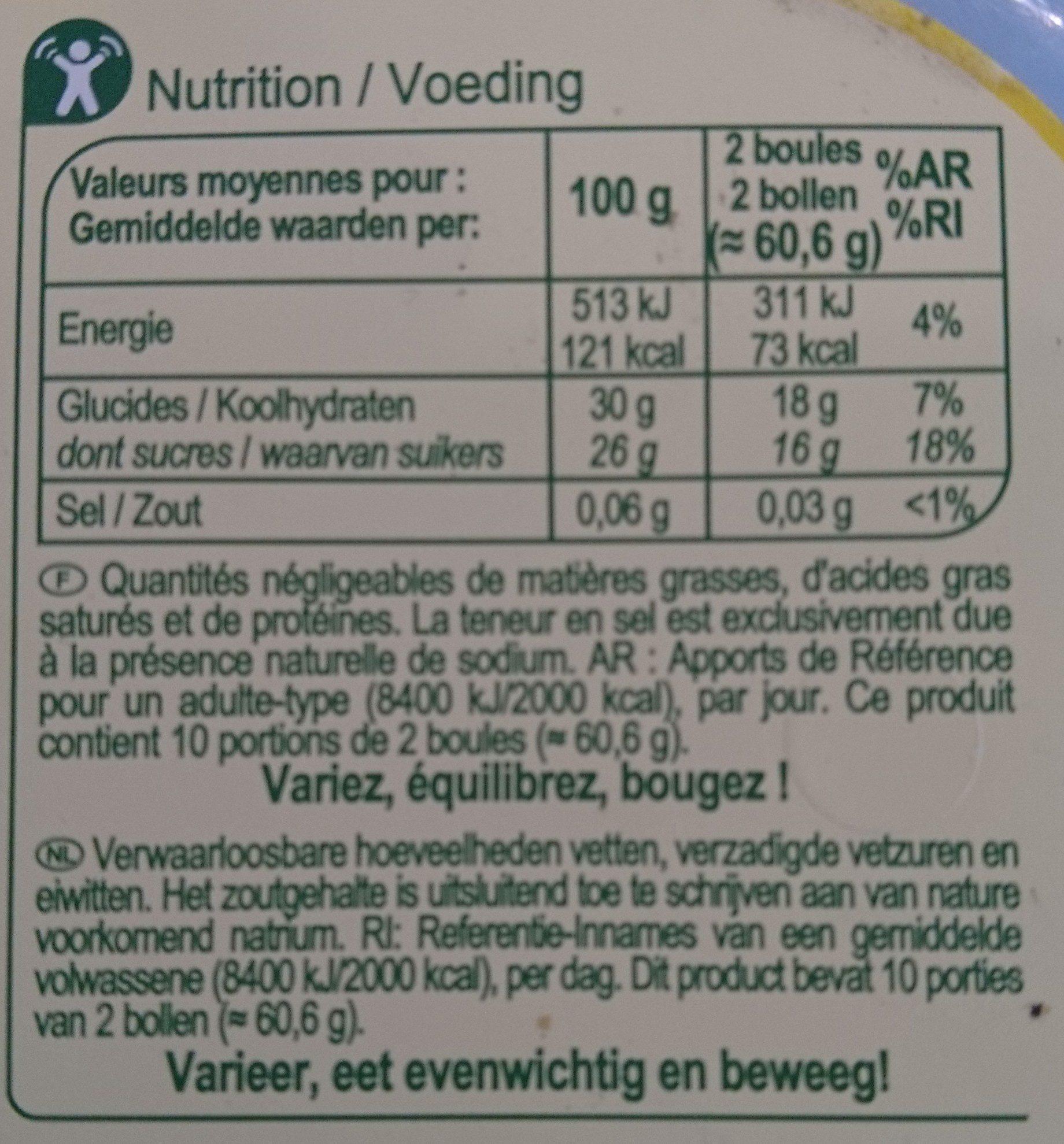 Sorbet citron avec morceaux - Voedingswaarden - fr