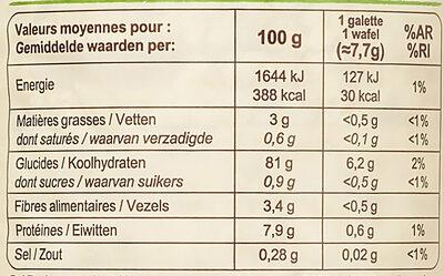 Galettes de Riz Complet - Informations nutritionnelles - fr