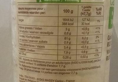 Galette de riz complet - Informations nutritionnelles