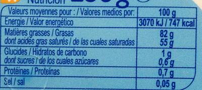 Beurre  Doux Tendre - Voedingswaarden