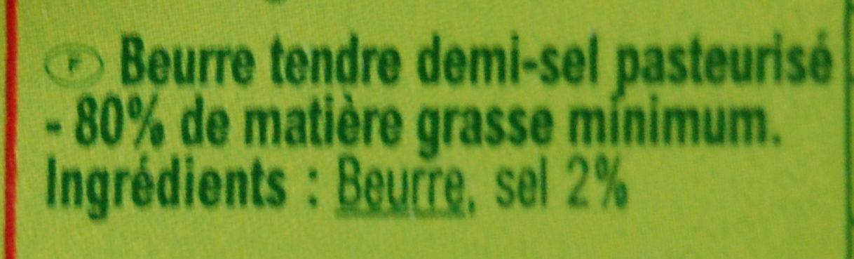 Beurre Demi-sel Tendre - Ingrédients - fr