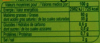 Beurre Demi-sel Tendre - Informations nutritionnelles - fr