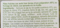 Tortellini Chèvre Épinard - Ingrediënten