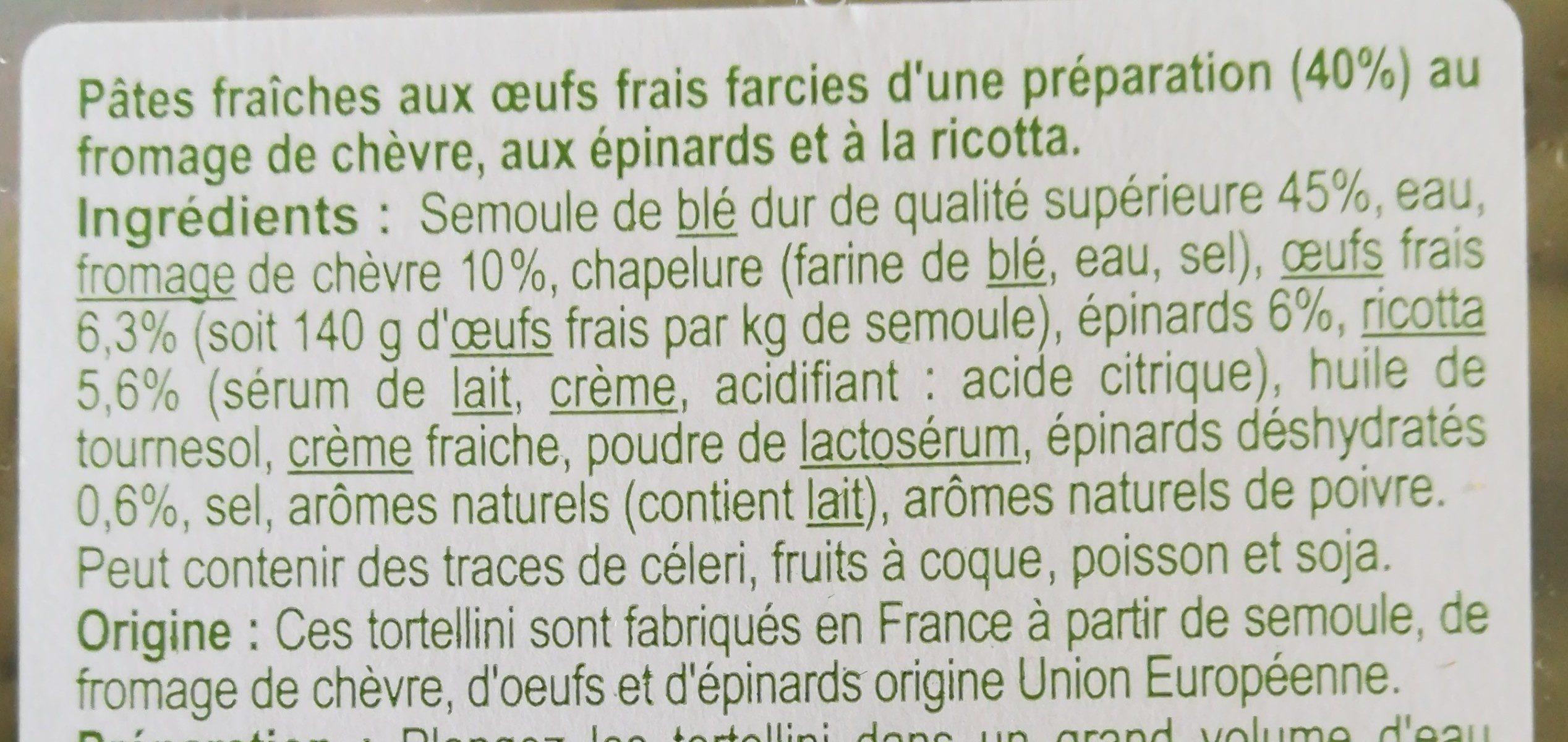 Tortellini Chèvre Épinard - Ingrediënten - fr