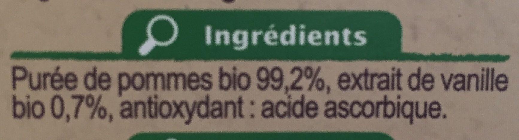 Purée de pommes à la vanille - Ingrédients - fr