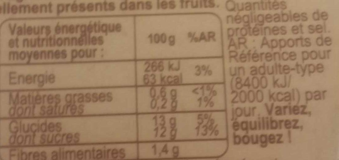 Purée de pommes à la vanille - Informations nutritionnelles - fr