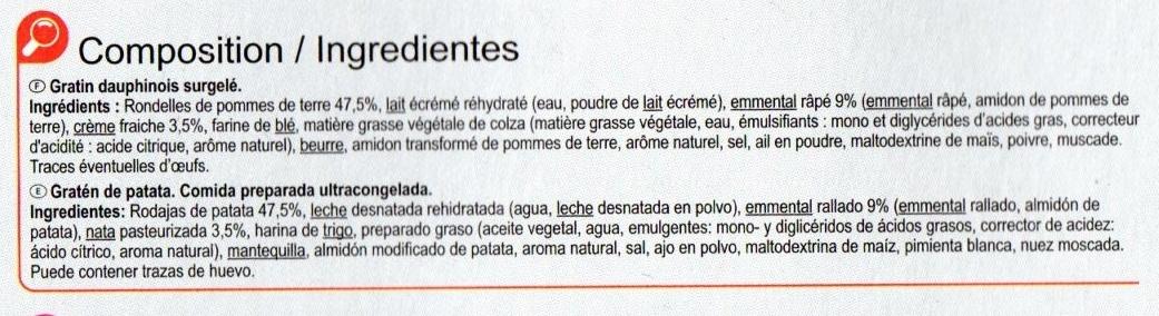 Gratin dauphinois emmental & crème fraîche - Ingrediënten - fr
