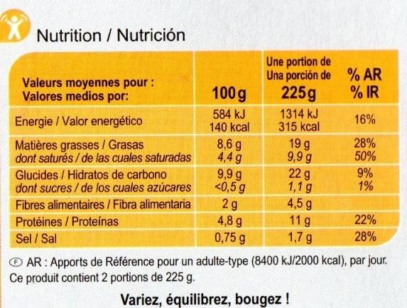 Gratin dauphinois emmental & crème fraîche - Voedingswaarden - fr