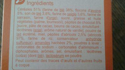 Biscuits p'tit dej au pépites de chocolat, abricots et amandes - Ingrédients - fr