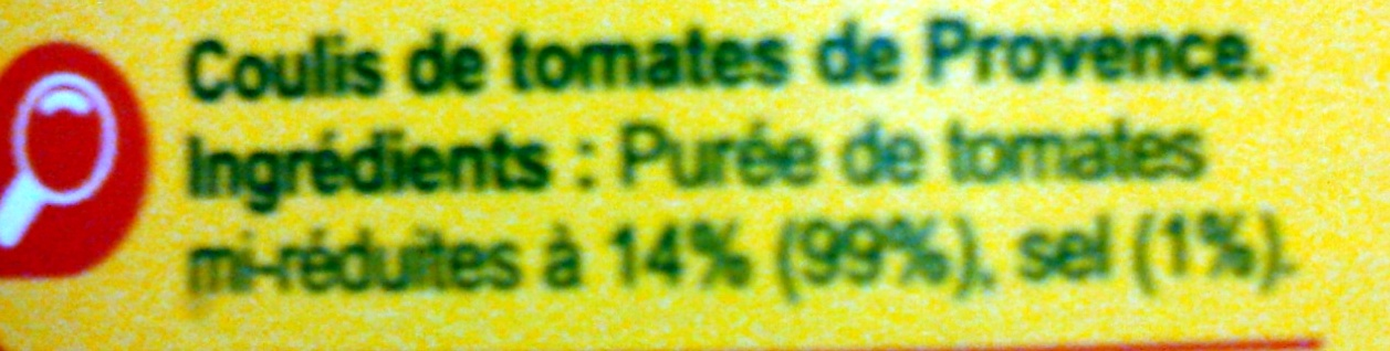 Coulis de tomates de Provence - Ingrédients