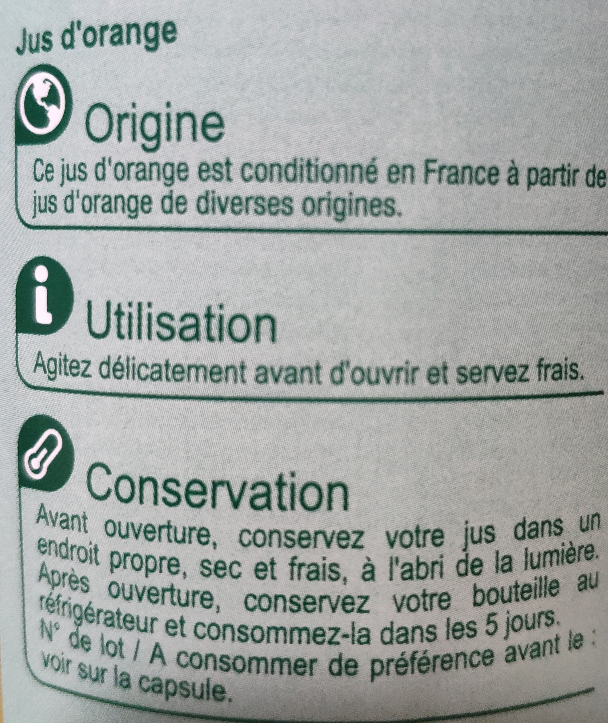 PUR JUS Orange pressé - Ingredients - fr