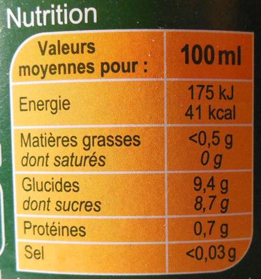 PUR JUS Orange pressé - Nutrition facts - fr