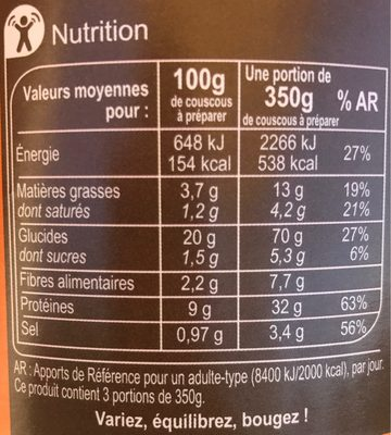 Couscous royal 1050g - Nutrition facts