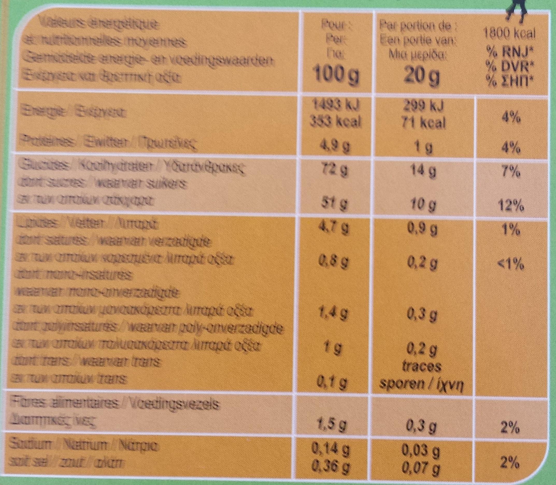 Barquettes abricots par lot de 2 - Nutrition facts - fr