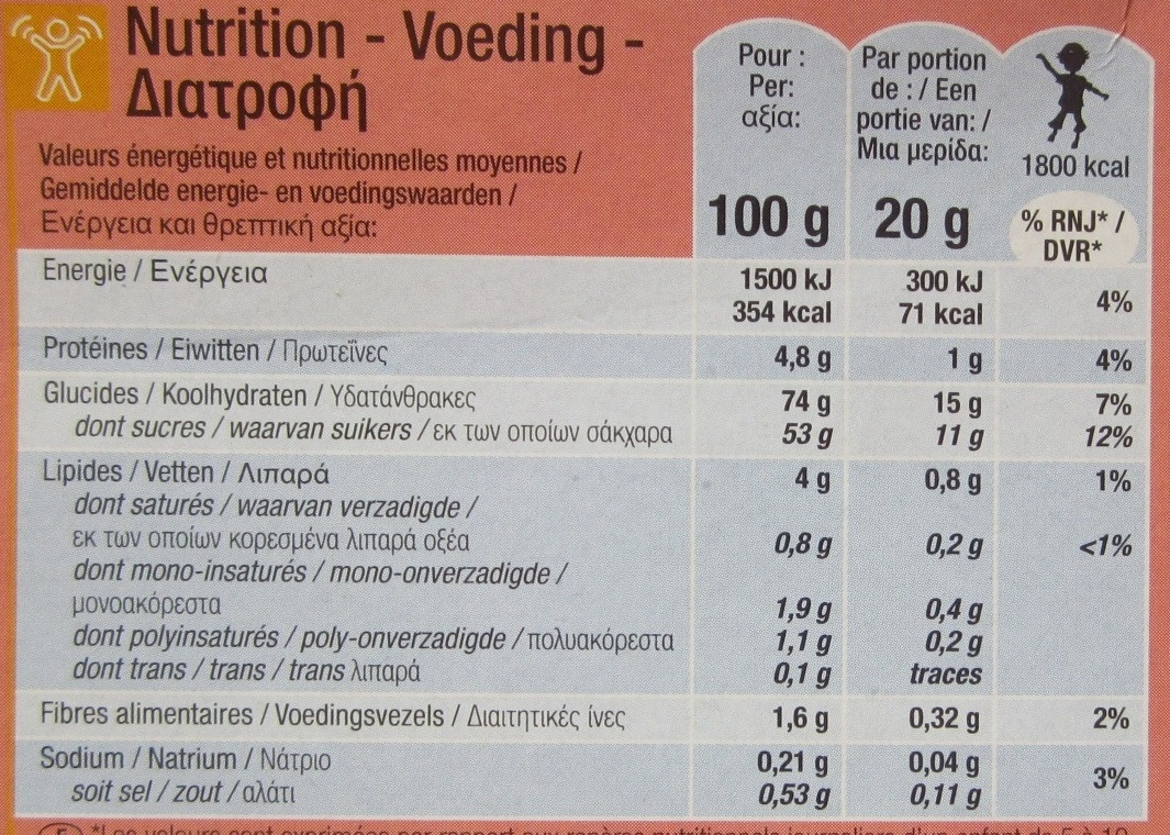 Barquettes - Informations nutritionnelles - fr