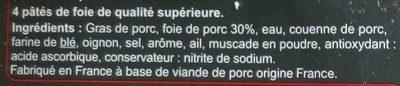 Pâté de foie - Ingrediënten - fr