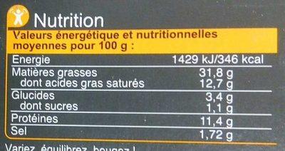 Pâté de foie - Voedingswaarden - fr