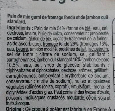 2 croque a poeler fromage jambon - Ingredients - fr