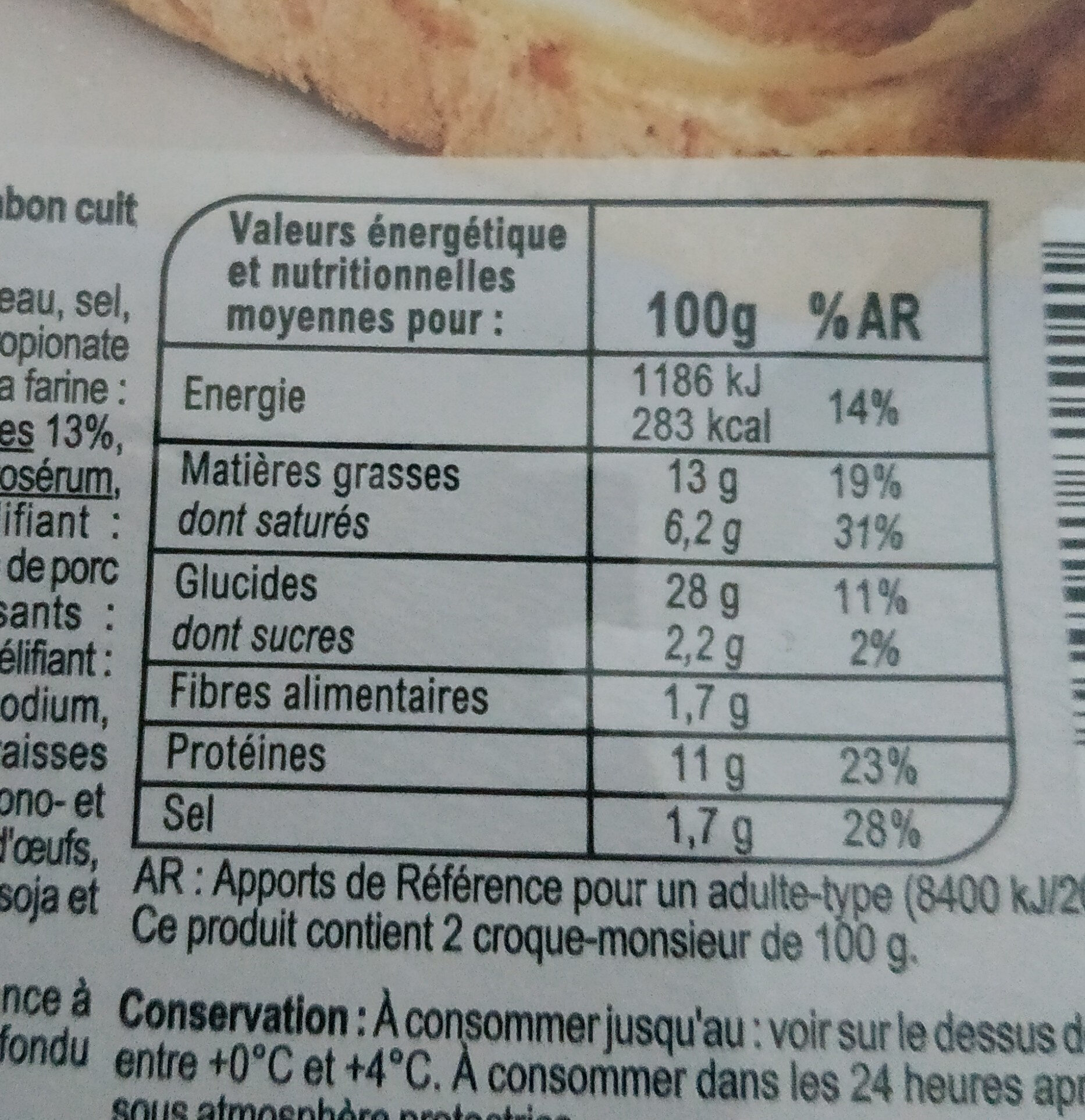 2 croque a poeler fromage jambon - Informations nutritionnelles - fr