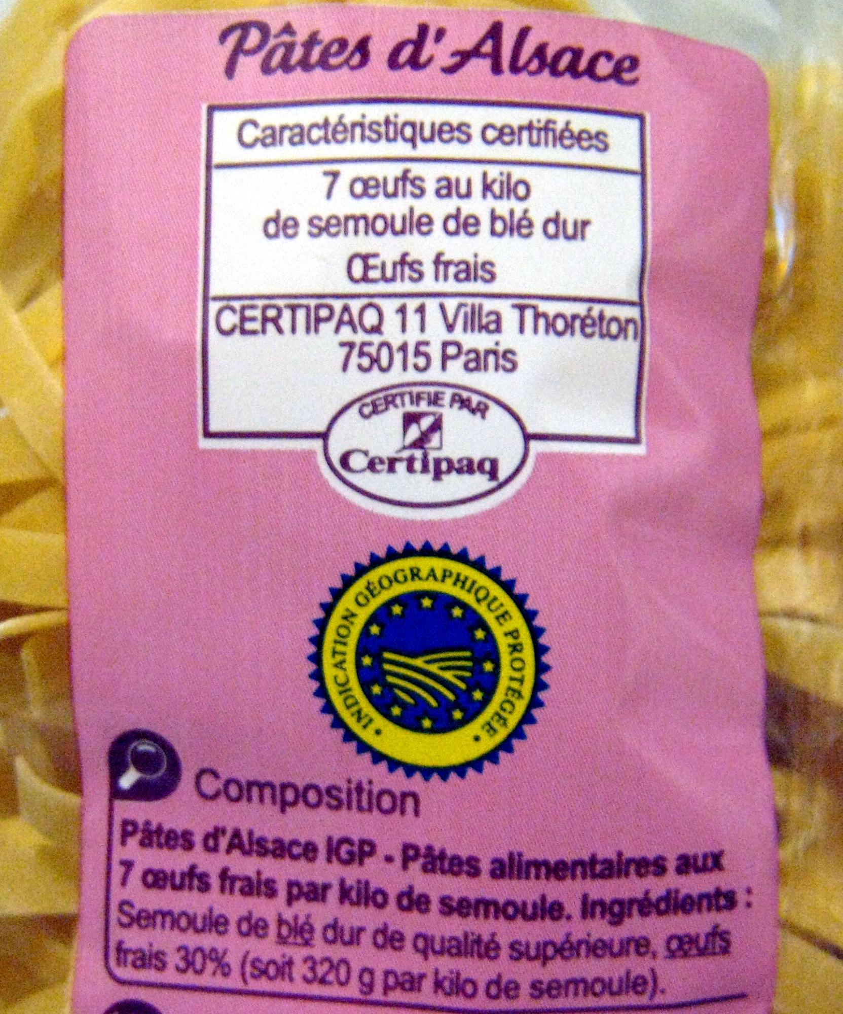 Pâtes d'Alsace IGP Nids - Ingrédients - fr