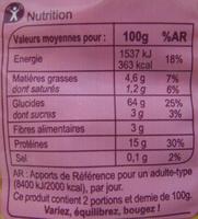 Pâtes d'Alsace IGP Nids - Informations nutritionnelles - fr