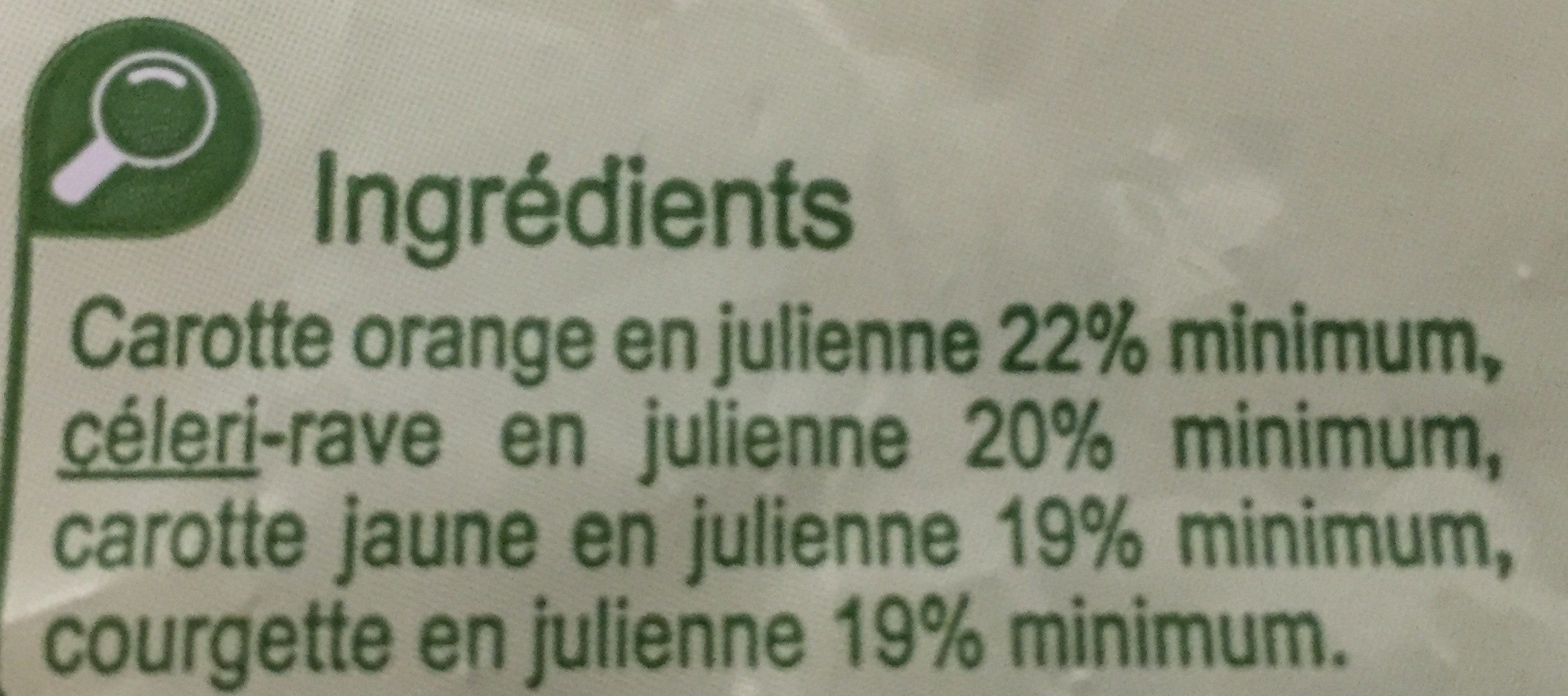 Julienne de légumes - Ingredients - fr