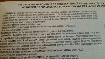 Chocolats aux liqueurs - Ingrédients