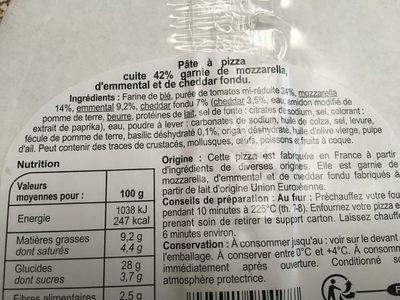 La Pizza 3 Fromages - Ingrédients - fr