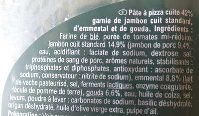 La pizza jambon fromage - Ingredients