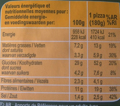 La pizza jambon fromage - Nutrition facts