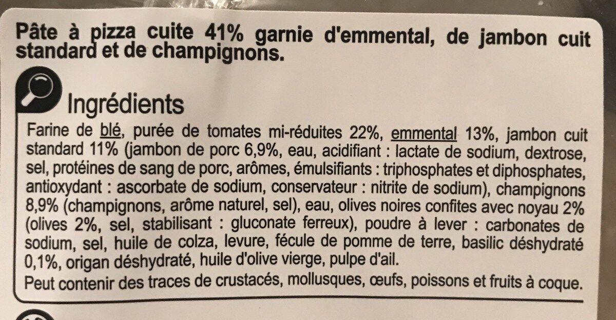 La pizza emmental, jambon, champignons - Ingrédients