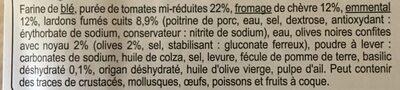 Carrefour La pizza chèvre - lardons fumés - Ingrédients