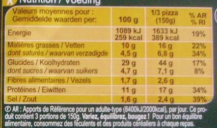 La Pizza Jambon Fromage - Informations nutritionnelles